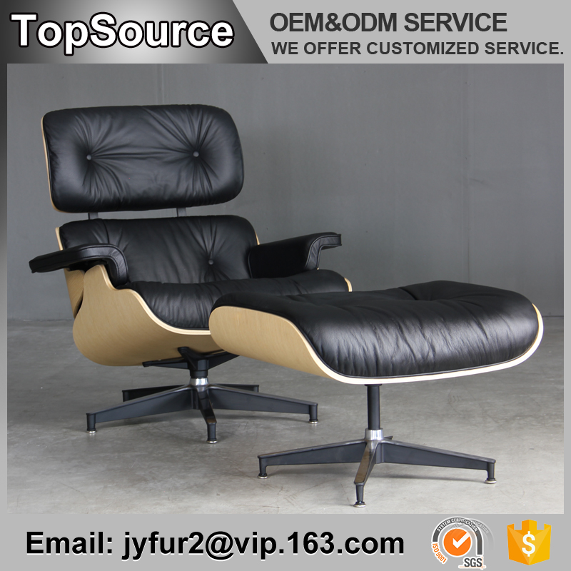 Famous designer black elegant leather antique chaise lounge chair