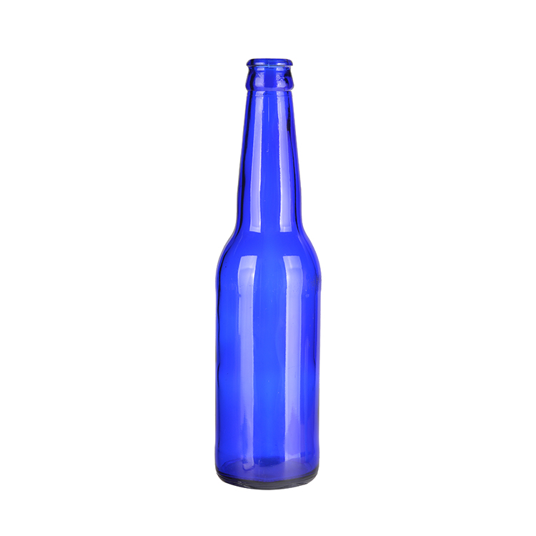 Wholesale 330Ml Blue Color Glass Liquor Bottles Beer Bottle
