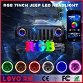 newest! 7inch led RGB headlamp with angel eye/ amber turning light for JEEP