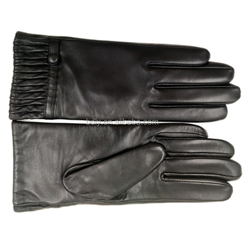Wool lined winter men women touch screen leather gloves for phone pad