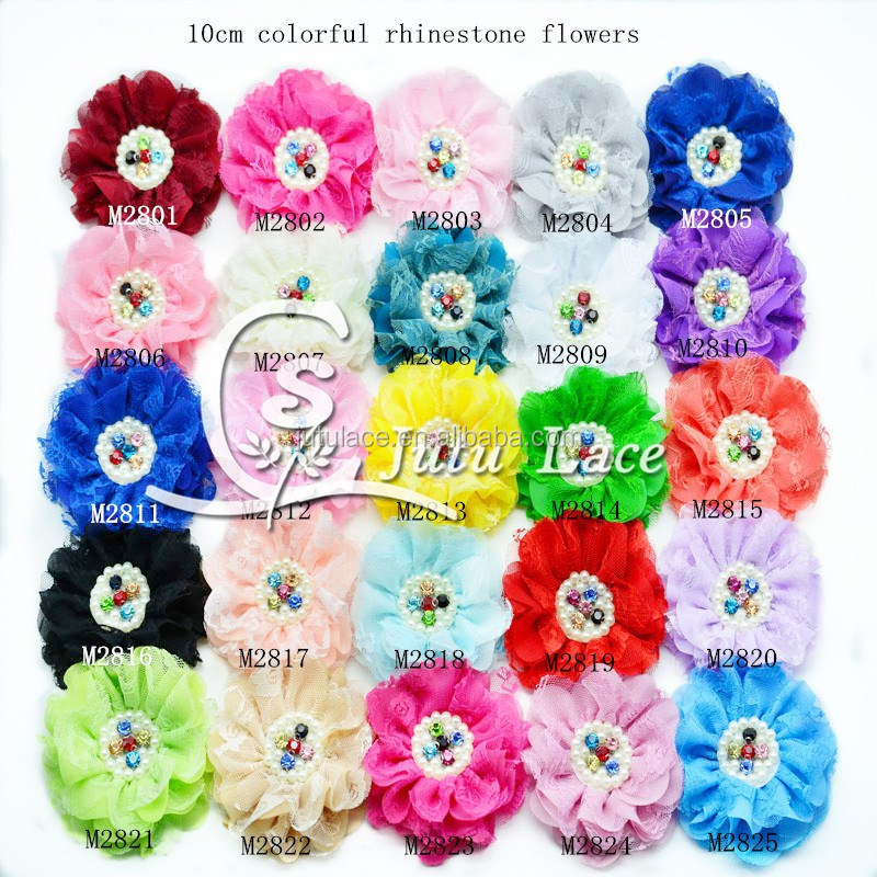 Hot sell fashion baby large round rhinestone centers chiffon fabric flower with crystal