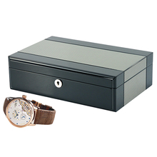 10 Grids Two Tone Lacquered Mens Watch Collection Box