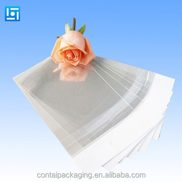 custom cellophane header clear transparent opp bopp plastic packaging bags with self adhesive sealing stripe
