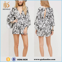 Fashion Designer Elegant Women Nice Printed Long Bell Sleeve Short Cotton Jumpsuits