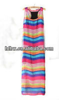 In the summer of 2013 the new Bohemia rainbow stripe two-piece condole belt vest dress