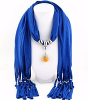 Stock Tassel Polyester Pendant Scarf Necklace with Mixed Colors Available