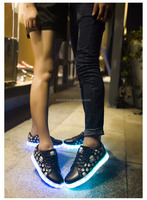 skull sport shoes glow sneakers luminous running shoes LAVA Fashion shoes led clignote chaussures