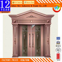 High End Luxury Front Door Design Fashion Europe America Style Villas Door Anti-theft Endurable Imitation Copper Meterial Price