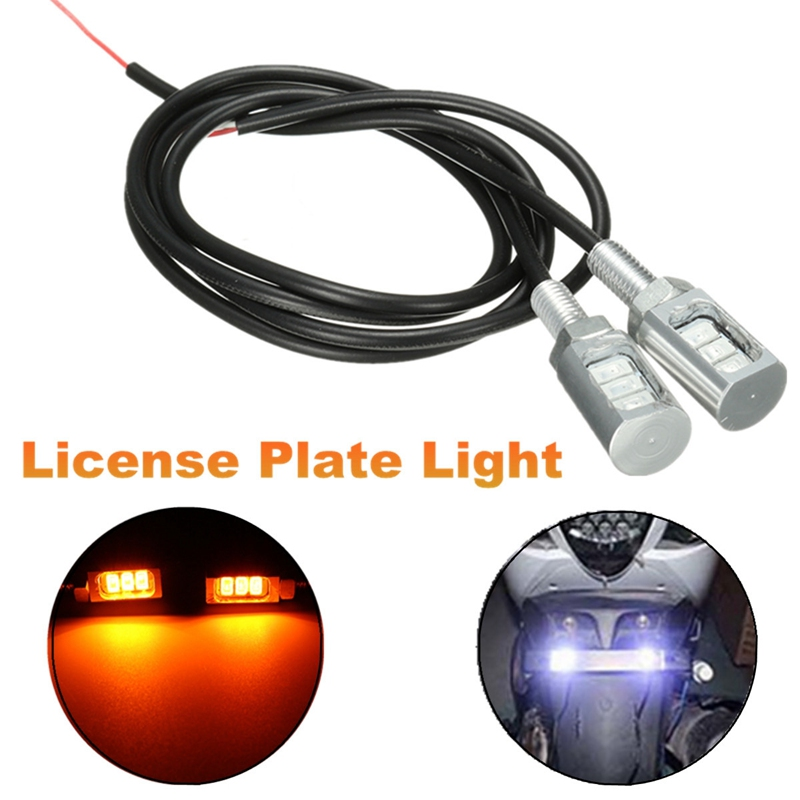 2Pcs/lot Amber Car Auto Motorcycle 12V LED Tail Tidy Number License Plate Screw Bolt Light Lamp