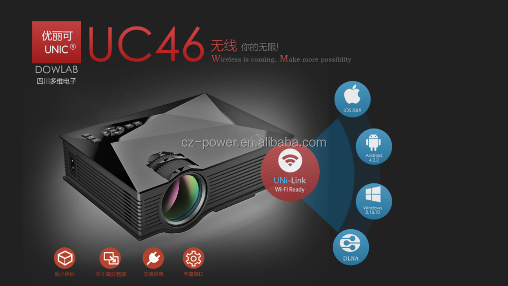 UNIC UC46 Mini Portable <strong>Projector</strong> Support Full HD 1080P Red-Blue 3D Effect With WIFI Connection <strong>Projector</strong>