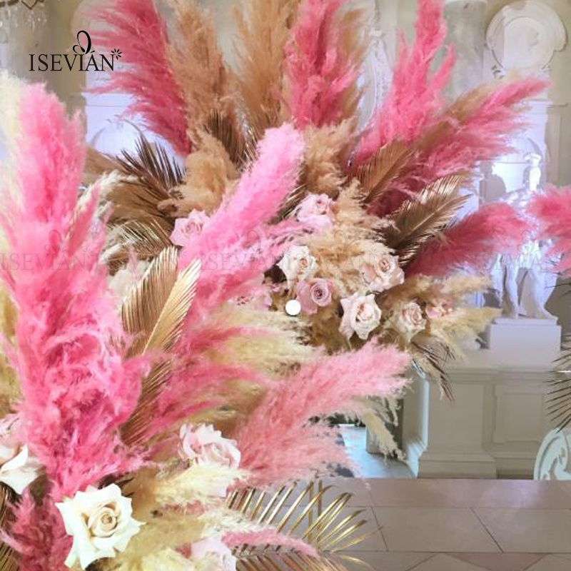 ISEVIAN Wedding Decor Grass Pampas Customized Natural Pampas Grass