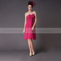Short strapless online traditional chiffon bridesmaid dress