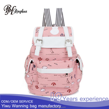 AL-176 Factory directly supply girlish lovely pattern canvas school travel backpack back bag