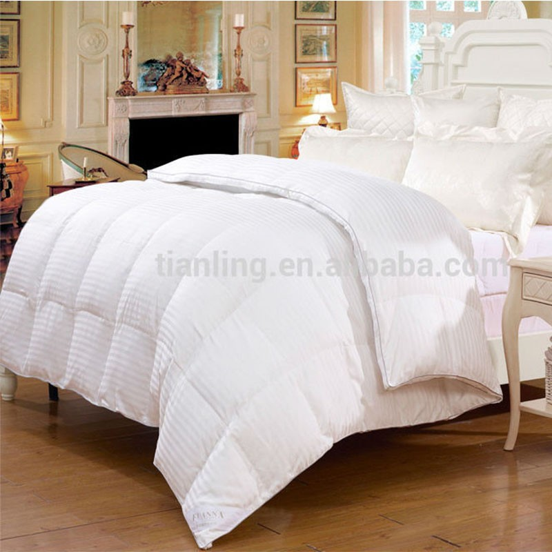 Thick and Warm Stripe White Goose Down Duvet Set