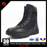 Black full grain leather desert spider rubber outsole shocek/water/oil resistance 600D polyester oxford military boots/shoes