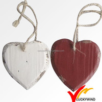 Shabby chic white hanging wooden hearts