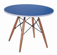 wood round top with wood base table for kids