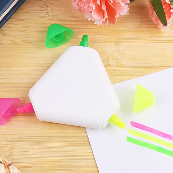 Cheap 3 in 1 triangle highlighter pen with customized logo for promotion