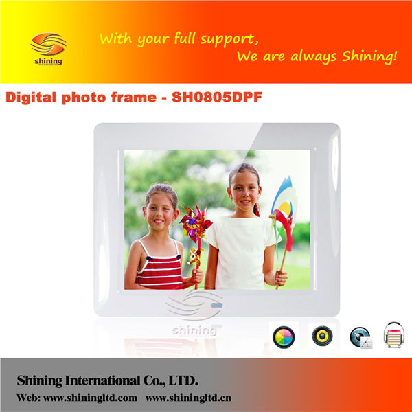 Wholesale desktop 8 inch lcd panel mp4 sex english movies digital photo frame SH0805DPF