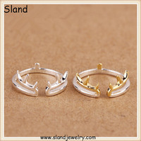 Wonderful! christmas gold plating antler s925 sterling silver cuff rings jewellery - open design pure silver finger ring sets