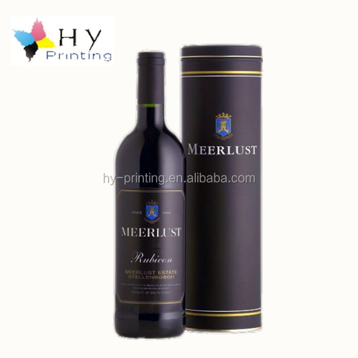 Colorful printing round cardboard paper core tube cylinder wine bottle gift box