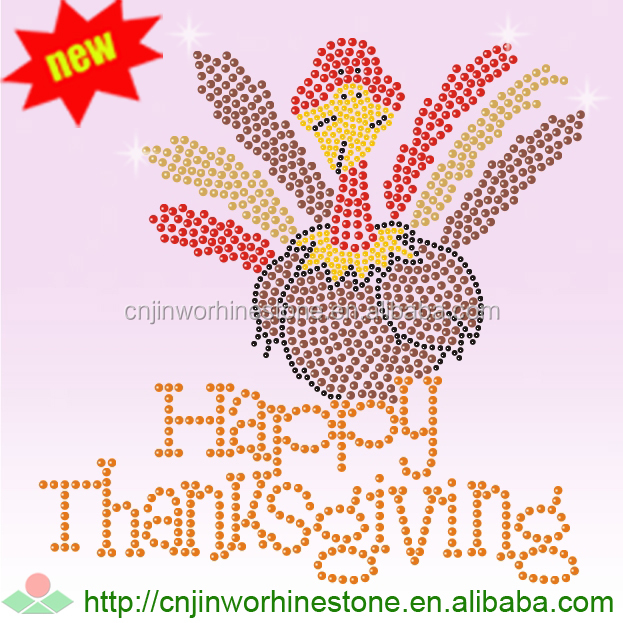 Wholesale Thanksgiving Transfers Happy Turcky Day Rhinestone Applique Iron on for Clothing thanksgiving (3)