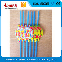 decorative disposable plastic drinking straw with paper topper