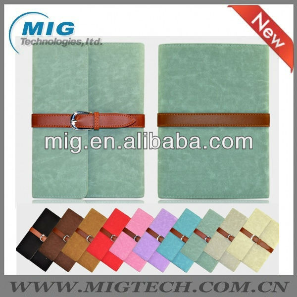 High quality leather case for ipad mini with nice belt, for ipad mini