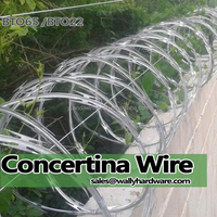 Military defense protection low price spiral 450mm concertina razor barbed wire