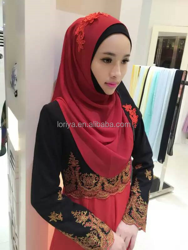 Fashionable wholesale scarf hijab high quality embroidered muslim women instant hijab