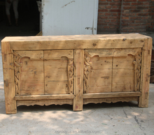 Chinese style antique hand carved living room side cabinet