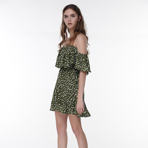 New Arrival Women Dot Printing Chiffon Summer Dress Sexy Off Shoulder Ruffles Short Mini Dress Beach Party Cocktail Clothes