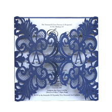 Wholesale Elegant Laser Cut blue Wedding Invitation Made In China