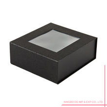 Black Cosmetic Paper Packaging Box With Clear Window