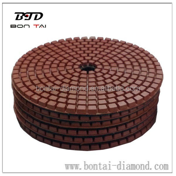 Wet polishing pads for concrete, granite, marble