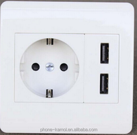 2016 European multi-function 2 pin Power USB wall Socket outlet with two usb ports