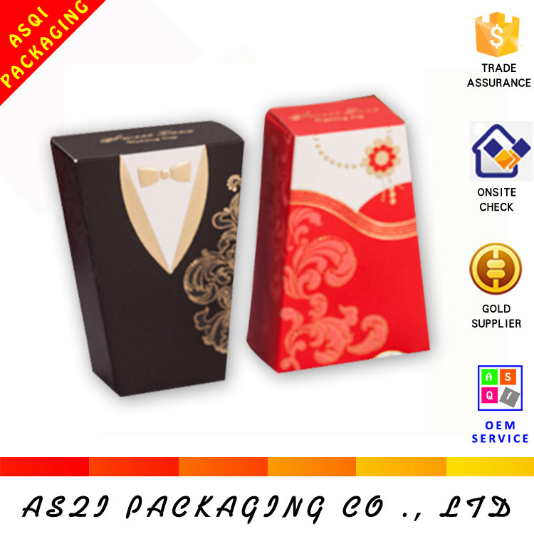 china custom printing chocolte packing mini bride and groom wedding favor box