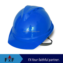 Blue safety helmet with chin strap
