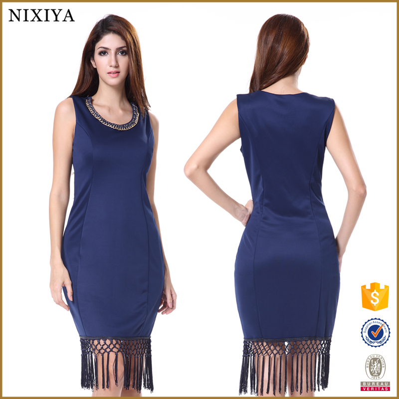 Bodycon sexy navy blue lycra indian style evening dresses