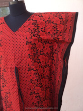 Wholesale printed floral patterns tunics dresses red kaftan style Pakistani designer long kaftan dress