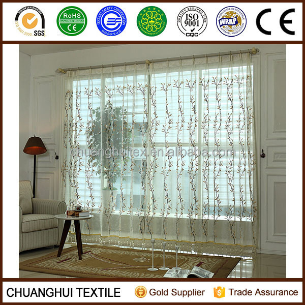 2 Panels beautiful leaves embroidered voile curtains and drapes sheer