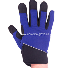 microfiber with non-slip silicon printing split cow leather work glove