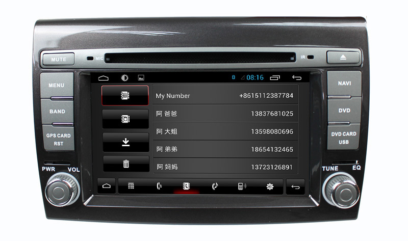 Android 4-core Fiat bravo 2007-2011Car radio GPS with 3G+Wifi+DVD+Radio+BT phonebook+Ipod list+USB +SWC+ATV+GPS+MP4/MP5+canbus