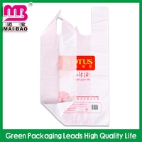 multicolor printed hdpe t-shirt bags on block with printed food mark