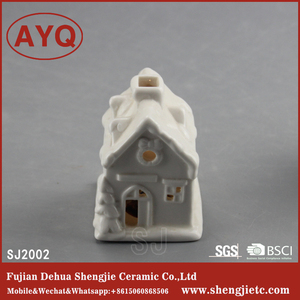 Pure White Ceramic Crafts Snow House Hanging Christmas Decorations With Led Lights