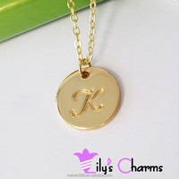2015 New fashion Polished Silver Gold Disc initial Pendant Necklace