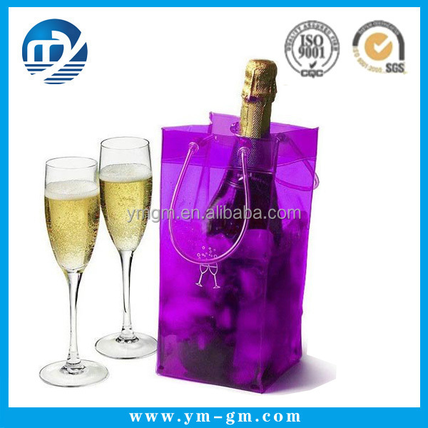 Custom clear pvc ice wine bottle bag in China