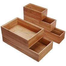Wholesale Stackable Bamboo Organization Boxes Set of 5 Storage Boxes For The Kitchen, Bathroom, Home Office