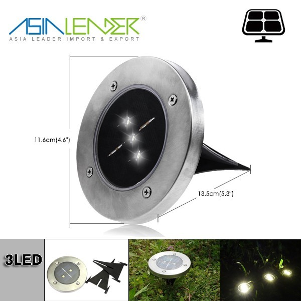 Metal 3 LED Solar Garden Ground LED Lights for Landscape