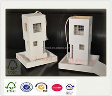 white finished hanging wood wooden bird house feeder with metal gauze net clear window for wholesale